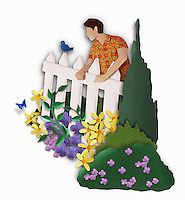 Paper sculpture image of neighbour looking over white picket fence into colourful garden.