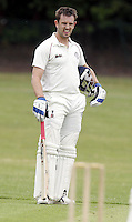 Hampstead captain Steve Clark looks on during the Middlesex County Cricket League Premier Division  game between Hampstead and North Middlesex at Lymington Road, Hampstead on Sat July 19, 2014
