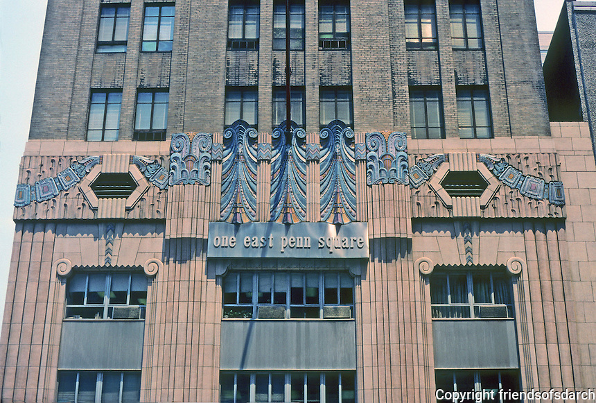 Philadelphia: One East Penn Square building, 1930. Ritter and Shay, architects. Ornamentation derives from Mayan design. Photo '91.