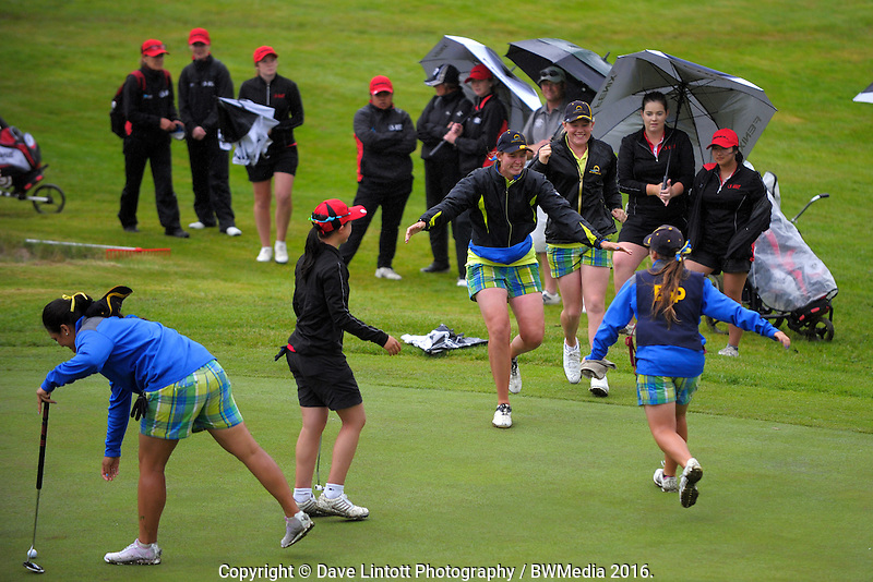 Bay of Plenty celebrate making the final against Auckland. 2016 Toro Women's Interprovincial Golf Championship at Westown Golf Club in New Plymouth, New Zealand on Saturday, 10 December 2016. Photo: Dave Lintott / lintottphoto.co.nz