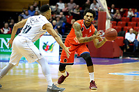 GRONINGEN - Basketbal, Donar - New Heroes, Martiniplaza,  Dutch Basketball League, seizoen 2017-2018, 03-12-2017,  Den Bosch speler Anthony Marshall  met Donar speler Brandyn Curry