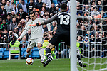 Real Madrid's Brahim Diaz and Athletic Club de Bilbao's Herirerin during La Liga match between Real Madrid and Athletic Club de Bilbao at Santiago Bernabeu Stadium in Madrid, Spain. April 21, 2019. (ALTERPHOTOS/A. Perez Meca)