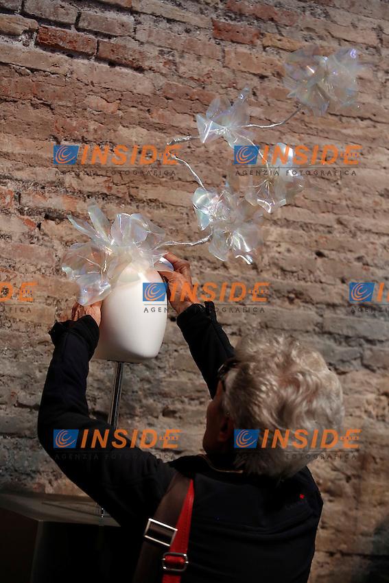 Patrizia Fabri<br /> Roma 03-04-2016 Terme di Diocleziano. Mostra 'In Acqua: H2O molecole di creativita'. Decine di stilisti hanno creato, per l'occasione, abiti, accessori e gioielli che richiamano l'acqua.<br /> Diocleziano Thermae. Exhibition 'In water: H2O molecules of creativity'.Tens of famous stylists created dresses, accessories and jewels that recall water.<br /> Photo Samantha Zucchi Insidefoto