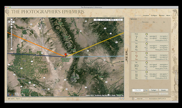 "A free application, ""The Photographer's Ephemeris"" works with Google maps. It shows the angle of the sun and moon for any date and location. Photography instruction by John Kieffer."