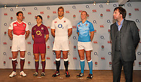Drybrook, England. (L-R) England captains Michaela Staniford, Chris Robshaw, Katy McLean and Rob Vickerman pose during the official launch of the new season's England Canterbury kit with Chris Stephenson, Chief Executive Officer of Canterbury at Drybrook Rugby Club on September 19, 2012 in Gloucester, England.