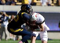 Chris McCain of California sacks Stanford quarterback Josh Nunes during 115th Big Game at Memorial Stadium in Berkeley, California on October 20th, 2012.  Stanford defeated California, 21-3.