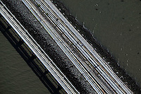 aerial photograph oil pipelines Chevron Long Warf, Richmond Refinery, Richmond, California