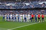 Real Madrid´s players greet Getafe´s players before La Liga match at Santiago Bernabeu stadium in Madrid, Spain. December 05, 2015. (ALTERPHOTOS/Victor Blanco)