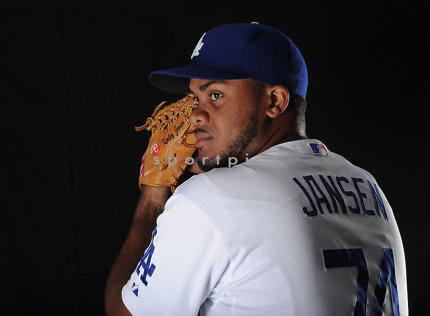 LA Dodgers Kenley Jansen (74) at media photo day on February 17, 2013 during spring training in Glendale, AZ.