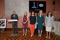 New York City, NY - MAY 23: (L-R) David Neal, Executive Producer, FIFA World Cup on Fox Sports, Aly Wagner, Lead WWC Match Analyst, Danielle Slaton, Match Analyst, Leslie Osborne, Studio Analyst, and Christina Unkel, Rules Analyst, attend the Fox Sports FIFA Women's World Cup Send-off at the Consulate General of France in New York City. (Photo by Anthony Behar/Fox Sports/PictureGroup)