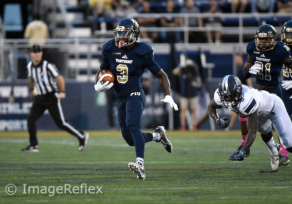 Florida International University football player defensive back Richard Leonard (3) plays against the Old Dominion University on October 24, 2015 at Miami, Florida. FIU won the game 41-12.