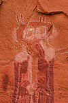 The Barrier Canyon Style pictographs in Black Dragon Canyon on the edge of the San Rafael Swell in Utah were painted by the Archaic Culture Native Americans between 1,500 and 4,000 years ago.  The pictographs were outlined with chalk in the 1940's, irreparably damaging them.