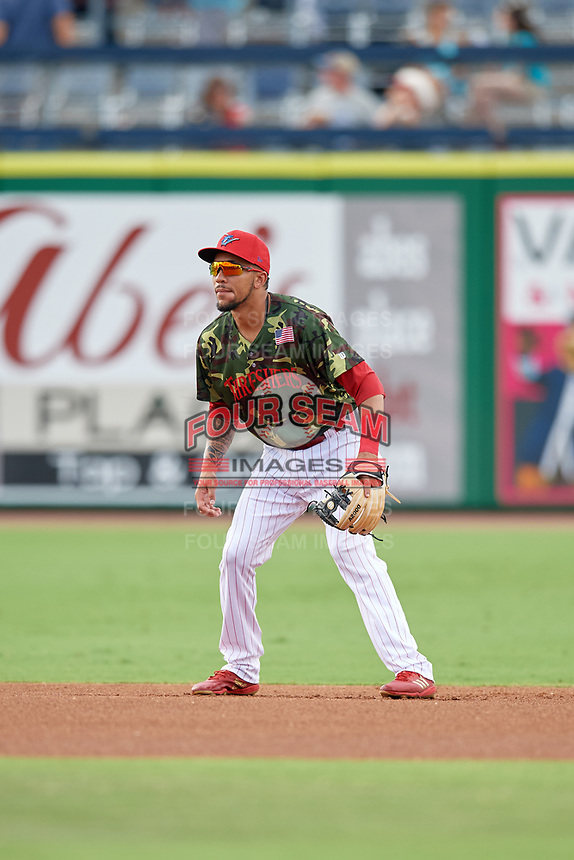 Philadelphia Phillies shortstop J.P. Crawford (12) during a game against the Florida Fire Frogs while on rehab assignment with the Clearwater Threshers on June 2, 2018 at Spectrum Field in Clearwater, Florida.  Clearwater defeated Florida 10-6.  (Mike Janes/Four Seam Images)