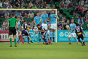 9th January 2018, nib Stadium, Perth, Australia; A League football, Perth Glory versus Melbourne City; Diego Castro of the Perth Glory takes a free kick over the Peeth wall during the second half