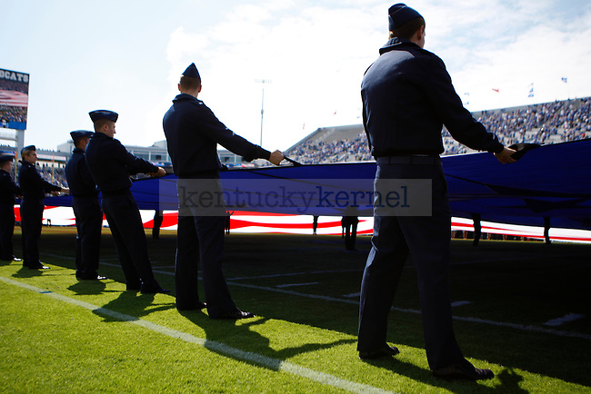 The University of Kentucky ROTC held the flag for the Star Spangled Banner before the game against Central Michigan University, in Commonwealth Stadium, on Saturday, September 10, 2011. Photo by Latara Appleby | Staff .
