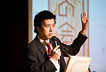 "Food Summit in Sendai, Miyagi Prefecture, Japan on 30 Nov. 2011. .Photographer: Robert GilhoolyKohei Takashima, chief director of Eat and Energize the East"", speaks  at the Food Summit in Sendai, Miyagi Prefecture, Japan on 30 Nov. 2011. .Photographer: Robert GilhoolyKohey Takashima, chief director of the Eat and Energize the East (EEE) speaks at the Food Industry Summit 2011 in Sendai, Japan on November 30, 2011. .Photographer: Robert Gilhooly"