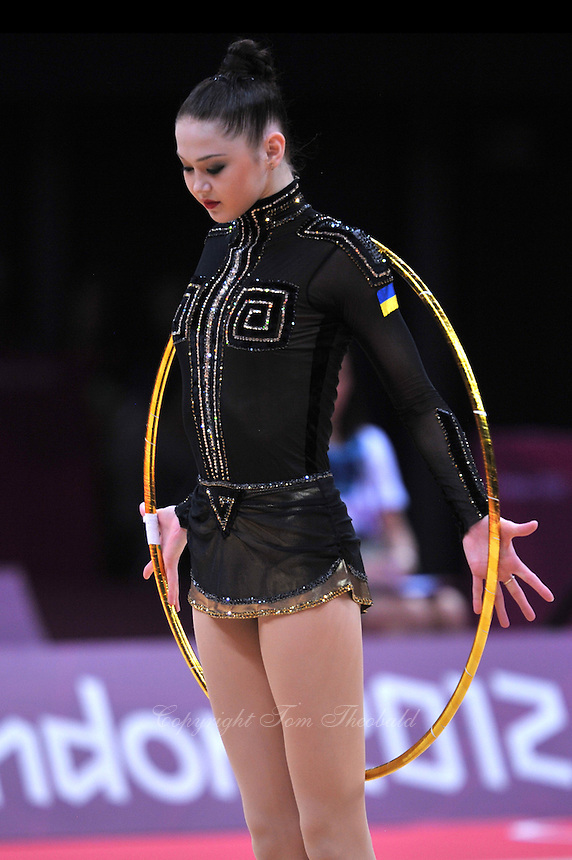 August 10, 2012; London, Great Britain;  ALINA MAKSYMENKO of Ukraine begins hoop routine during AA final at London 2012 Olympics.