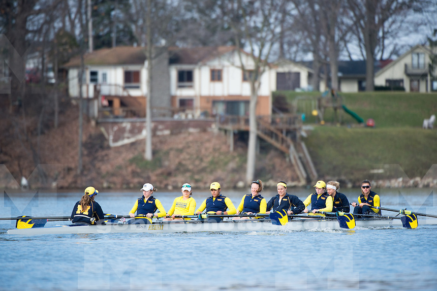 The University of Michigan rowing team hosts No. 15 Indiana and Iowa in a Big Ten Double Dual on Belleville Lake in Van Buren Township, Mich on April 11, 2015.