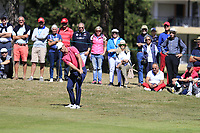 Lucas Bjerregaard (DEN) chips into the 5th green during Saturday's Round 3 of the 2018 Omega European Masters, held at the Golf Club Crans-Sur-Sierre, Crans Montana, Switzerland. 8th September 2018.<br /> Picture: Eoin Clarke | Golffile<br /> <br /> <br /> All photos usage must carry mandatory copyright credit (&copy; Golffile | Eoin Clarke)