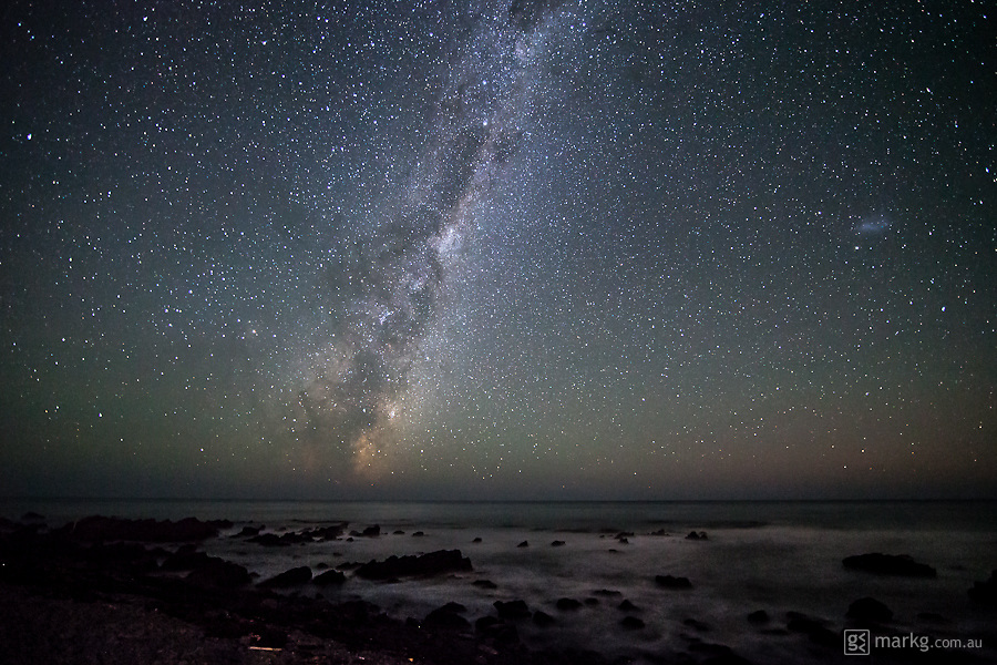 Cape Palliser on the south eastern tip of the North Island of New Zealand, with the Milky Way shining ever so brightly in the sky above.