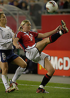 Linda Ormen, left, Kristine Lilly, right, USA vs. Norway, in Boston, Ma, 2003 WWC.