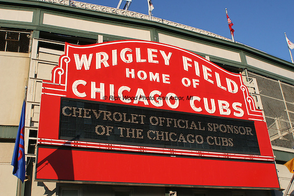 Wrigley Field red entryway facade