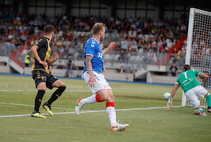 01.08.2019 Progres Niederkorn v Rangers: Scott Arfield watches his effort rebound off the post