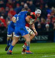 28th December 2019; Thomond Park, Limerick, Munster, Ireland; Guinness Pro 14 Rugby, Munster versus Leinster; Fineen Wycherley of Munster is tackled by Andrew Porter of Leinster - Editorial Use