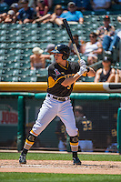 Alex Yarbrough (9) of the Salt Lake Bees at bat against the Albuquerque Isotopes in Pacific Coast League action at Smith's Ballpark on June 28, 2015 in Salt Lake City, Utah.  The Isotopes defeated the Bees 8-3.(Stephen Smith/Four Seam Images)