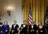 From left actress Barbara Cook, singer Neil Diamond, musician Yo-Yo Ma,.musician Sonny Rollins and actress Meryl Streep wait for a Kennedy Center Honors reception in the East Room of the White House, Sunday, December 4, 2011 in Washington, DC.  For their accomplishments and contributions to the arts actress Meryl Streep, singer Neil Diamond, actress Barbara Cook, musician Yo-Yo Ma, and musician Sonny Rollins where etched recognized as this year's recipients of the Kennedy Center Honors..Credit: Brendan Smialowski / Pool via CNP
