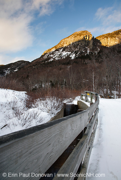 Franconia Notch State Park - Scenic view along the Franconia Bike Path during the winter months in the White Mountains, New Hampshire USA.