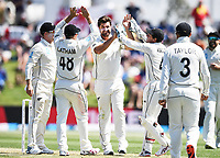 21st November 2019; Mt Maunganui, New Zealand;  Colin de Grandhomme celebrates with team mates the wicket of Burns international test match cricket, Day 1, New Zealand versus England at Bay Oval, Mt Maunganui, New Zealand.