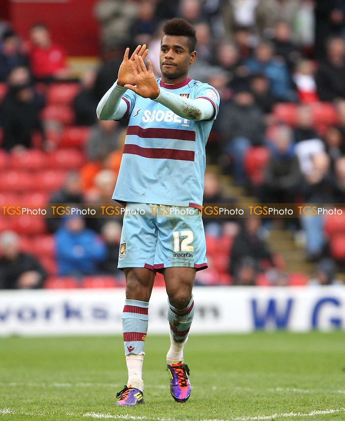Ricardo Vaz Te acknowledges the Barnsley fans after scoring the 4th goal for West Ham - Barnsley vs West Ham United, npower Championship at Oakwell Stadium, Barnsley - 06/04/12 - MANDATORY CREDIT: Rob Newell/TGSPHOTO - Self billing applies where appropriate - 0845 094 6026 - contact@tgsphoto.co.uk - NO UNPAID USE..