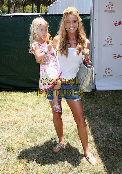 DENISE RICHARDS & daughter LOLA ROSE SHEEN .Elizabeth Glaser Pediatric AIDS Foundation 20th Annual A Time For Heroes Celebrity Carnival held at Wadsworth Theater, Los Angeles, CA, USA, 6th June, 2009..full length white vest bag family child kid  basket bag denim shorts sandals .CAP/ADM/KB.©Kevan Brooks/Admedia/Capital Pictures