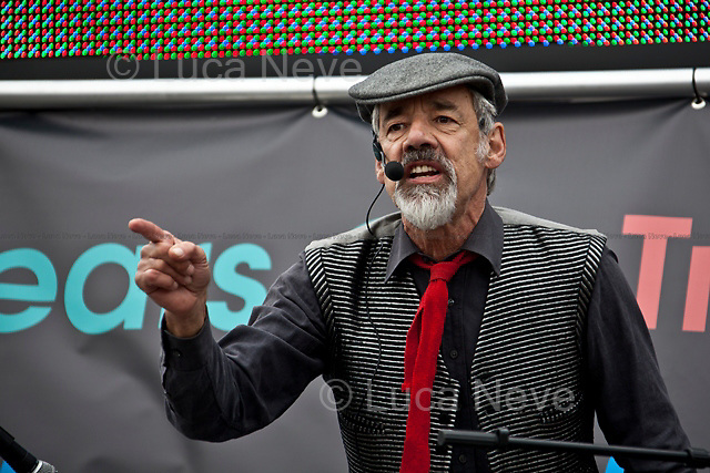 Roger Lloyd-Pack (English actor).<br /> <br /> London, 08/10/2011. Today Trafalgar Square was the stage of the &quot;Antiwar Mass Assembly&quot; organised by The Stop The War Coalition to mark the 10th Anniversary of the invasion of Afghanistan. Thousands of people gathered in the square to listen to speeches given by journalists, activists, politicians, trade union leaders, MPs, ex-soldiers, relatives and parents of soldiers and civilians killed during the conflict, and to see the performances of actors, musicians, writers, filmmakers and artists. The speakers, among others, included: Jeremy Corbin, Joe Glenton, Seumas Milne, Brian Eno, Sukri Sultan and Shadia Edwards-Dashti, Hetty Bower, Mark Cambell, Sanum Ghafoor, Andrew Murray, Lauren Booth, Kate Hudson, Sami Ramadani, Yvone Ridley, Mark Rylance, Dave Randall, Roger Lloyd-Pack, Rebecca Thorn, Sanasino al Yemen, Elvis McGonagall, Lowkey (Kareem Dennis), Tony Benn, John Hilary, Bruce Kent, John Pilger, Billy Hayes, Alison Louise Kennedy, Joan Humpheries, Jemima Khan, Julian Assange, Lindsey German, George Galloway. At the end of the speeches a group of protesters marched toward Downing Street where after a peaceful occupation the police made some arrests.