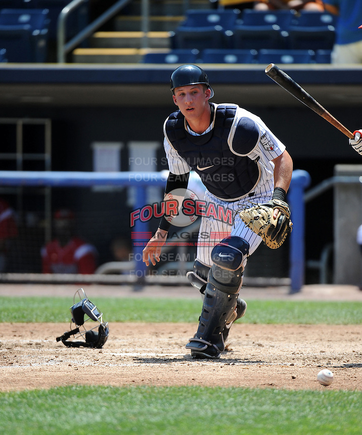 Staten Island Yankees catcher Radley Haddad (56) during game against the Batavia Muckdogs at Richmond County Bank Ballpark at St.George on July 18, 2013 in Staten Island, NY.  Batavia defeated Staten Island 8-2.  (Tomasso DeRosa/Four Seam Images)