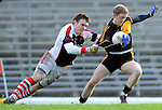 22-01-12: Colm Cooper, Dr Crokes, is dragged down by Rathmore goalkeeper Padraic McCarthy  in the East Kerry O'Donoghue Cup final  in Fitzgerald Stadium, Killarney on Sunday. Picture: Eamonn Keogh ( MacMonagle, Killarney)
