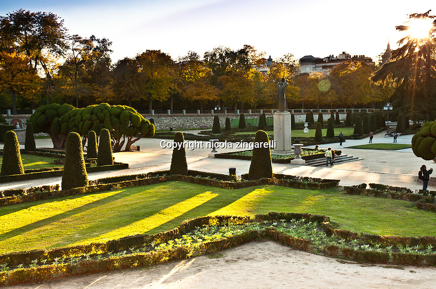 View from the above of the parterre at the retiro park in madrid, spain
