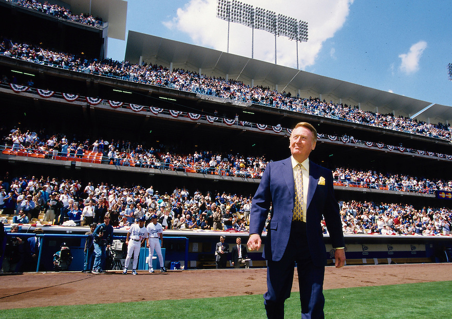 Vin Scully during Los Angeles Dodgers Opening Day 1999.<br /> <br /> &copy; Jon SooHoo/Los Angeles Dodgers 1999
