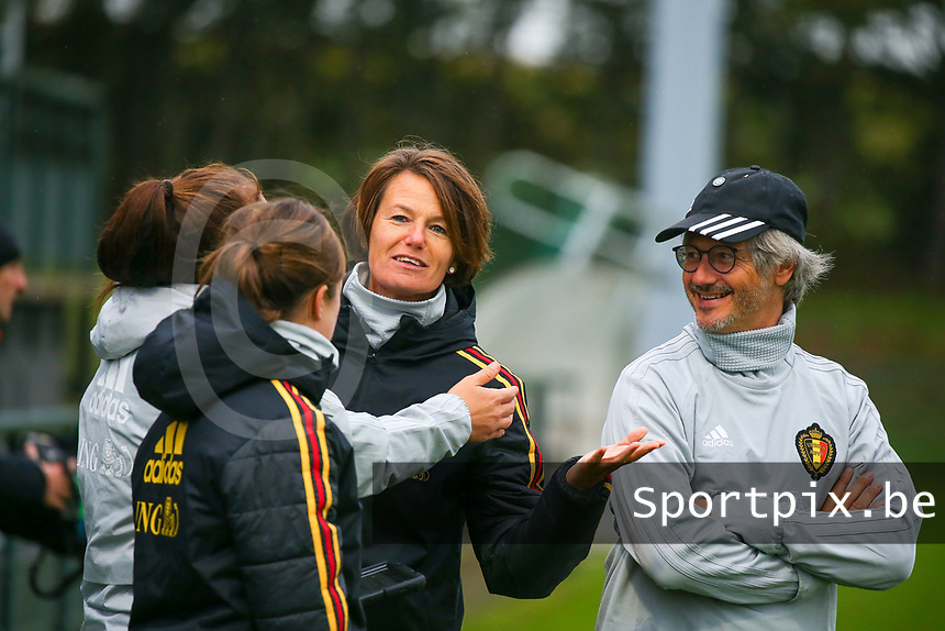 20191006 TUBIZE: Red Flames' team physiotherapist Fabienne Van De Steene and team doctor Kris Vanderlinden are pictured at the Open Training of Red Flames on Sunday 6th of October 2019, Tubize, Belgium  PHOTO SPORTPIX.BE | SEVIL OKTEM
