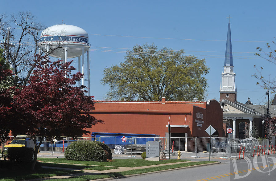NWA Democrat-Gazette/MICHAEL WOODS &bull; @NWAMICHAELW<br /> Construction crews begin renovation on the former Benton County Daily Record newspaper building Tuesday April 12, 2016 in downtown Bentonville  RopeSwing Hospitality Group announced Tuesday that it would renovate the building's 12,000-square-foot space into an event center. Renovations have begun and the new space is expected to open in October.