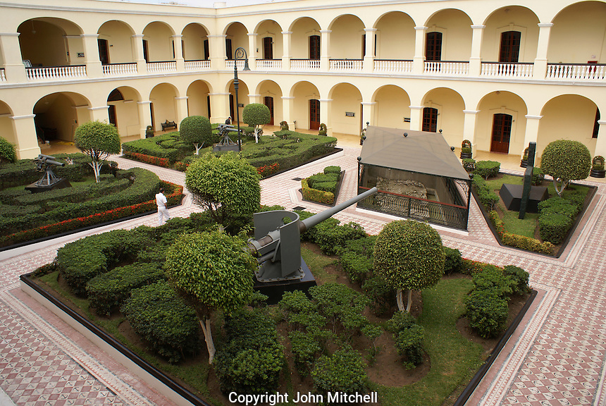 Courtyard of the Museo Historico Naval or Naval History Museum, city of Veracruz, Mexico