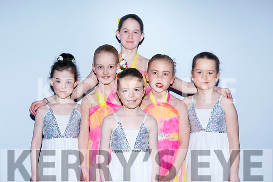 Aoibheann Brick, Christina O'Connell, Ella Foley, Amy Ni Hara, Aisling Kelliher and Isabella Kelliher preparing to go on stage in the Kerry School of Music's Ballet Spectacular show in Siamsa Tire on Sunday afternoon last.