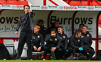 Barnsley manager Daniel Stendel shouts instructions to his team from the technical area<br /> <br /> Photographer Alex Dodd/CameraSport<br /> <br /> The EFL Sky Bet League One - Barnsley v Blackpool - Saturday 27th April 2019 - Oakwell - Barnsley<br /> <br /> World Copyright © 2019 CameraSport. All rights reserved. 43 Linden Ave. Countesthorpe. Leicester. England. LE8 5PG - Tel: +44 (0) 116 277 4147 - admin@camerasport.com - www.camerasport.com