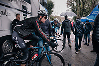 Wout Van Aert (BEL/Veranda's Willems-Crelan) warming up ahead of the race was already an indication the team was up to something early in the race... <br /> <br /> 12th Strade Bianche 2018<br /> Siena &gt; Siena: 184km (ITALY)