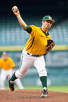 Relief pitcher Kolt Browder #45 of the Baylor Bears in action against the Rice Owls at Minute Maid Park on March 6, 2011 in Houston, Texas.  Photo by Brian Westerholt / Four Seam Images