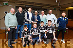 Presentation to Eddie Morrissey by the Ardfert GAA Club at the Ardfert GAA juvenile awards evening in the Ballyroe Heights Hotel on Friday evening. <br /> Kneeling L-r, Shane O&rsquo;Connor, Keelin Best, Harry Wallace and Liam Og O&rsquo;Connor.<br /> Back l-r, Frank and Cyril Wallace, David Clifford, Eddie Morrissey, Joe Wallace, John Kirby and Billy Stack.