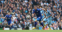 Leicester City's Christian Fuchs and Manchester City's Fernandinho<br /> <br /> Photographer Stephen White/CameraSport<br /> <br /> The Premier League - Manchester City v Leicester City - Saturday 13th May 2017 - Etihad Stadium - Manchester<br /> <br /> World Copyright &copy; 2017 CameraSport. All rights reserved. 43 Linden Ave. Countesthorpe. Leicester. England. LE8 5PG - Tel: +44 (0) 116 277 4147 - admin@camerasport.com - www.camerasport.com