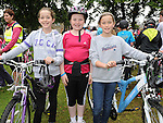 Niamh and Tara McGuinness and Lauren Commons who took part in the La Tour de Bog annual Ardee cycle. Photo: Colin Bell/pressphotos.ie