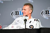 Indianapolis, IN - DEC 1, 2018: Ohio State Buckeyes head coach Urban Meyer talks with the media after defeating the Northwestern Wildcats 45-24 in the Big Ten Championship game at Lucas Oil Stadium in Indianapolis, IN. (Photo by Phillip Peters/Media Images International)